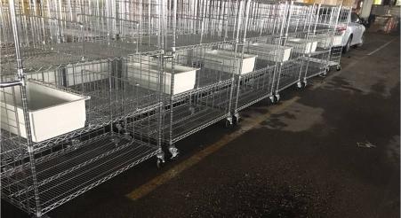 עגלת רשת עם חוצצים ומגירה עבור בית חולים מנשה